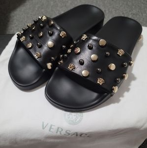 VERSACE open toe slippers